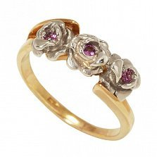 Золотое кольцо Пепел розы в комбинированном цвете с морганитами