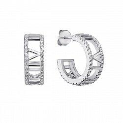 Серебряные серьги-конго с фианитами, 18мм 000133931