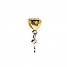"""Бусина серебряная """"Сердце и ключ"""""""