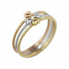 Золотое кольцо Четыре сердца в комбинированном цвете с тройной крученой шинкой