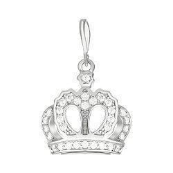 Серебряный шарм-корона с фианитами и родированием 000035181