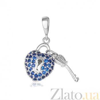 Серебряный подвес с фианитами Ключ от сердца 000028607