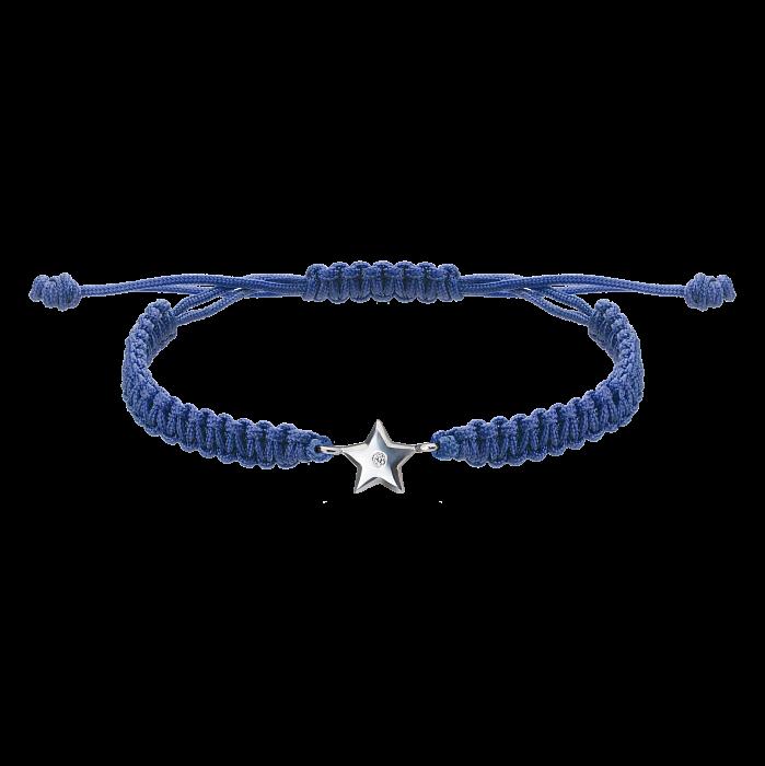Синий плетеный браслет Звездочка с cеребряной вставкой и фианитом, 8х8мм 000080631