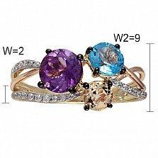 Кольцо из красного золота Даниэла с аметистом, голубым топазом, дымчатым кварцем и бриллиантами