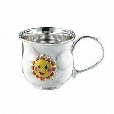 Детская серебряная чашка Солнышко с цветной эмалью