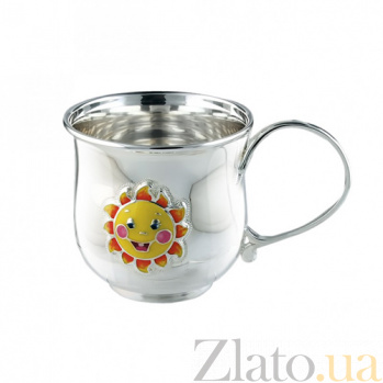 Детская серебряная чашка с эмалью Солнышко 2.8.0151