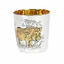 Серебряный стакан Вепрь с позолотой