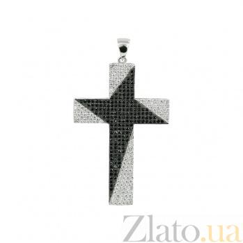 Серебряный крест с фианитами Черное и белое 000029355