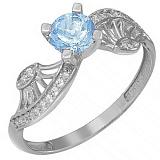 Золотое кольцо Эврика в белом цвете с голубым топазом и фианитами