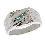 Серебряный перстень с бриллиантами и изумрудами Эрис