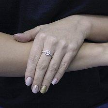 Золотое кольцо Аминта в белом цвете с дорожками фианитов