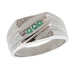 Серебряный перстень с бриллиантами и изумрудами 000022192