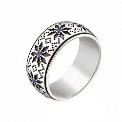 Серебряное обручальное кольцо с сапфирами Вышиванка 000019158