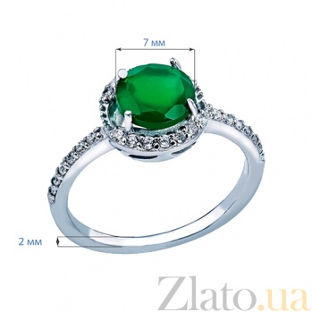 Серебряное кольцо с зеленым агатом Весенний луг AQA--R01294Ag