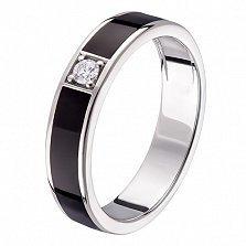 Кольцо в белом золоте Эвита с бриллиантом и эмалью