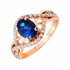 Кольцо из красного золота Роберта с синим топазом лондон и фианитами