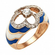 Кольцо в красном золоте Лидия с эмалью и фианитами