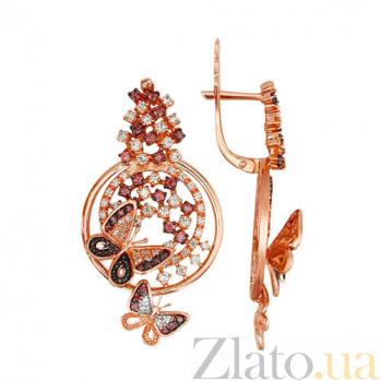 Серьги-подвески из красного золота Лесная Фея VLT--ТТ2265-2