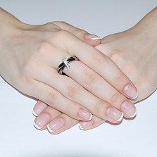 Кольцо из черной керамики и с фианитами Мерсин