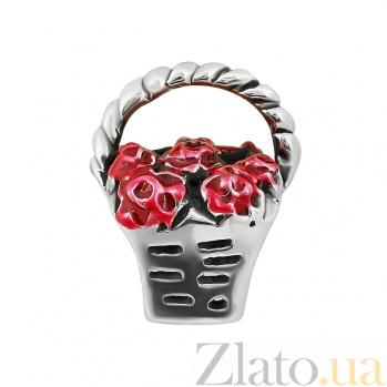 Серебряный шарм Корзинка ягод с красной эмалью 000081706