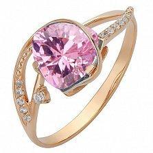 Золотое кольцо Гретхен с розовым топазом и фианитами