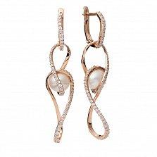 Золотые серьги-подвески с жемчугом и фианитами Корнелия