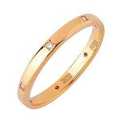 Кольцо обручальное в красном золоте с фианитами 000011287