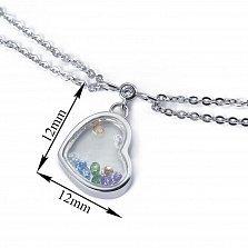 Серебряный двойной браслет Сердце большое с цветными плавающими фианитами, 12x12мм