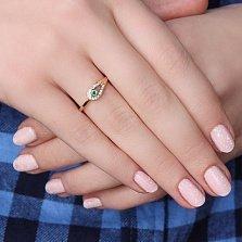 Золотое кольцо Адрия с изумрудом и лейкосапфирами