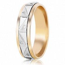 Золотое обручальное кольцо Музыка любви с фианитами