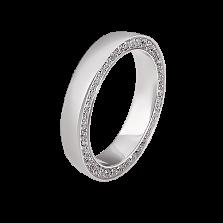 Женское обручальное кольцо Маями в белом золоте с бриллиантами в боковом срезе шинки