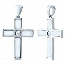 Серебряный крестик Млечный путь с белым агатом и цирконием