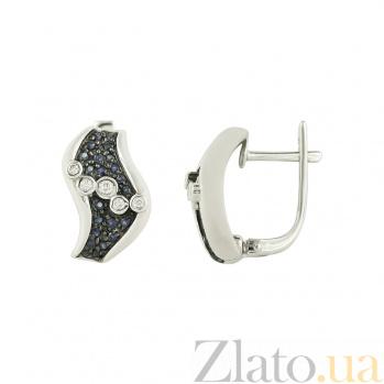 Золотые серьги с бриллиантами и сапфирами Клаудия 1С032-0568