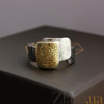 Серебряное кольцо с позолотой и чернением Кандинский 000017269