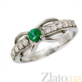 Золотое кольцо в белом цвете с изумрудом и бриллиантами Эмилиэна ZMX--RE-6504w_K