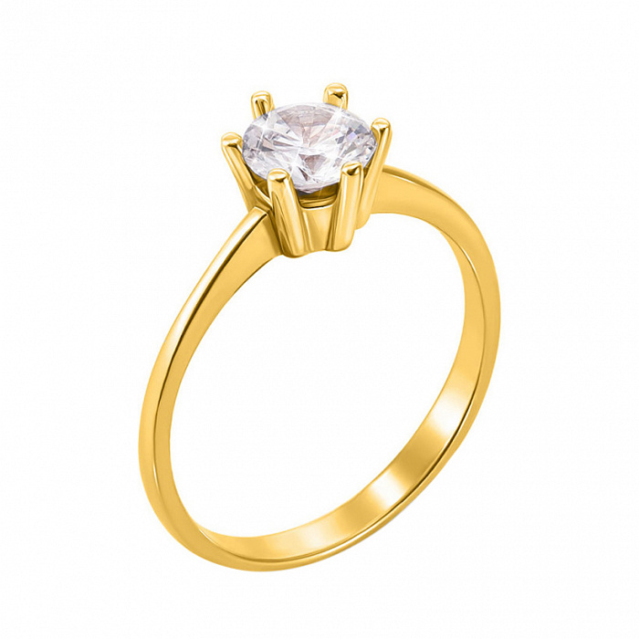Золотое помолвочное кольцо Дана в желтом цвете с цирконием 000130063