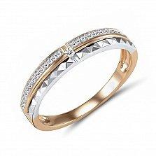 Обручальное кольцо Эвита из красного и белого золота с бриллиантами