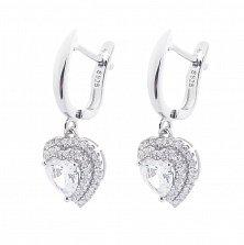 Серебряные серьги-подвески Любовь с фианитами в форме сердца