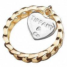 Золотое кольцо Любовь к Тиффани в комбинированном цвете