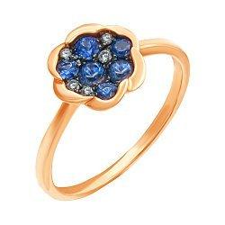 Золотое кольцо в комбинированном цвете с сапфирами и бриллиантами 000139344