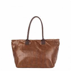 Кожаная сумка на каждый день Genuine Leather 8004 коричневого цвета на молнии