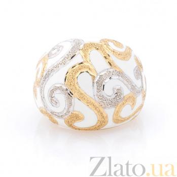 Дизайнерский перстень Зимний орнамент в желтом золоте с белой эмалью и фактурным узором 000082307