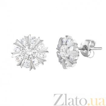 Серебряные сережки-пуссеты с цирконием Морозное утро SLX--СК2Ф/416