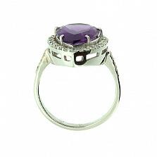 Золотое кольцо в белом цвете с бриллиантами и аметистом Салима