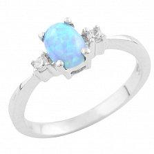 Серебряное кольцо Жюстин с голубым опалом и фианитами