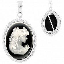 Серебряный кулон-брошь Вильгельмина с черной эмалью и белым перламутром