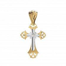 Золотой крестик с бриллиантом Откровение