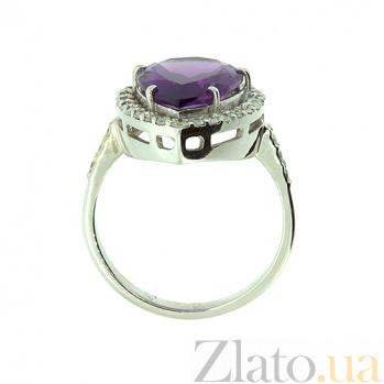 Золотое кольцо в белом цвете с бриллиантами и аметистом Салима 000021532