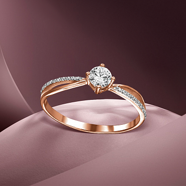 Золотое кольцо Элина в комбинированном цвете с фианитами