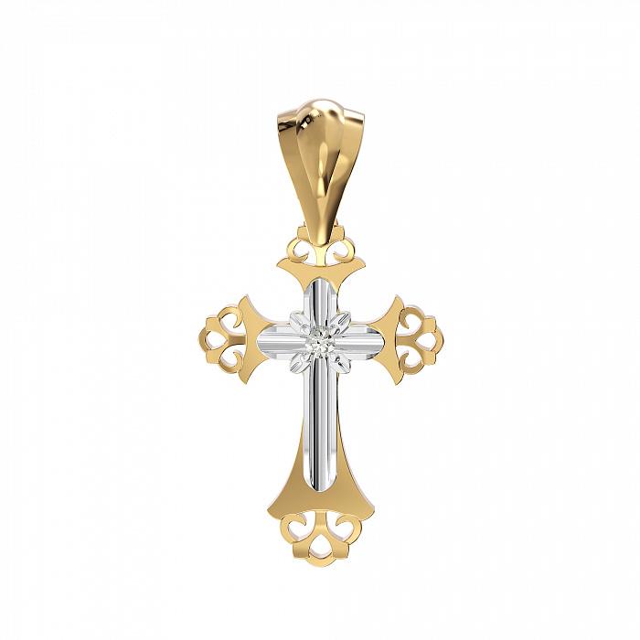 Золотой крестик Откровение в комбинированном цвете с бриллиантом VLA--35130